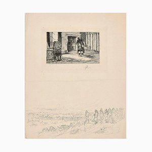 Interior Scene - Original Etching by C.L. Kratke - 1880s 1880s