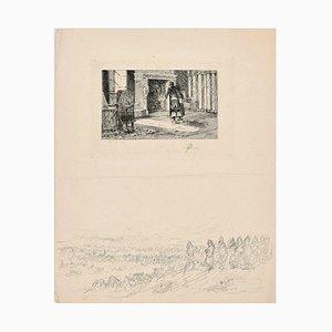 Interior Scene - Original Radierung von CL Kratke - 1880er 1880er