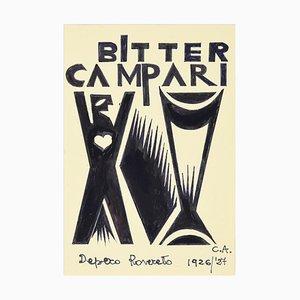 Bitter Campari - Original Ink Drawing After F. Depero Late 20th Century