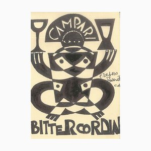Bitter Cordial - Original Ink Drawing After F. Depero Late 20th Century