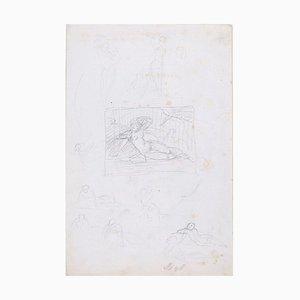 Komposition mit Akt Frau - Original Bleistiftzeichnung Frühes 20. Jahrhundert Frühes 1900