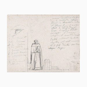 Composition with Friar - Charcoal Drawing and China Ink by M. Dumas - 1850 ca. 1850 ca.