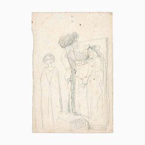 Une Chambre - Original Bleistiftzeichnung von Unknown French Artist Late 1800 Late 19th Century