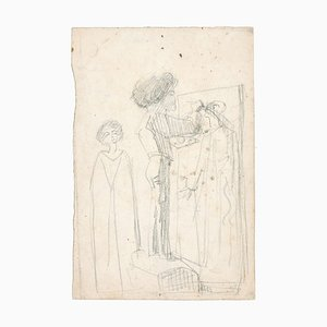 Une Chambre - Original Pencil Drawing by Unknown French Artist Late 1800 Late 19th Century