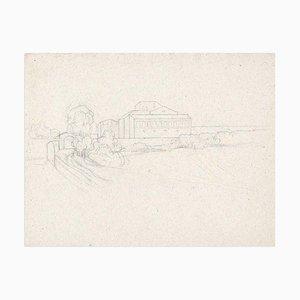 Paysage et Maternité - Dessin au Dessin par M. Dumas - 1850s 1850 ca.