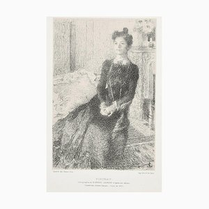 Portrait of Woman - Original Lithograph by E. Laurent - 1901 ca. 1901 ca.