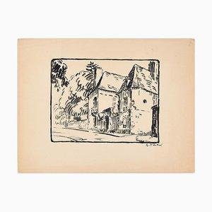The Huts - Original China Tinte Zeichnung von G. Pastre - 1930er 1930er