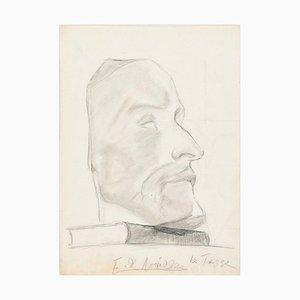 Male Profile - Original Bleistiftzeichnung von AE de Noailles - Frühes 20. Jahrhundert Frühes 20. Jahrhundert
