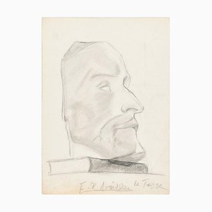 Male Profile - Original Pencil Drawing by A. E. de Noailles - Early 20th Century Early 20th Century