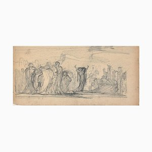 The Forum - Original Charcoal Drawing by French Artist End of 19th Century 19th Century