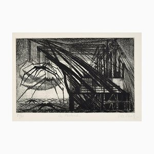 Les Pecheries - Original Etching by Maurice Chot-Plassot - Mid 20th Century Mid 20th Century