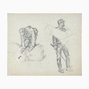 Soldiers - Original Bleistiftzeichnung von einem unbekannten französischen Künstler - frühes 1900 Frühes 20. Jahrhundert