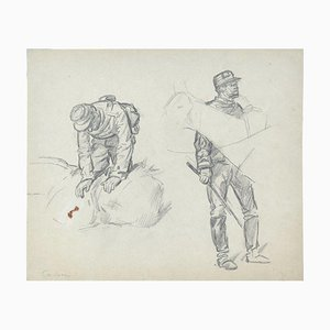 Soldiers - Original Pencil Drawing by an Unknown French Artist - Early 1900 Early 20th Century