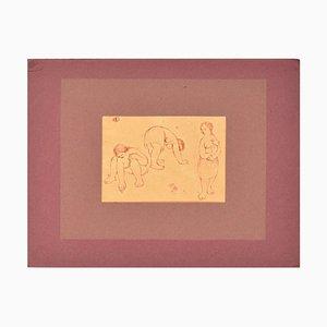 Three Nudes - Original Rote Feder auf Papier von Unbekannter Französischer Künstler Frühes 1900 Spätes 18. Jahrhundert