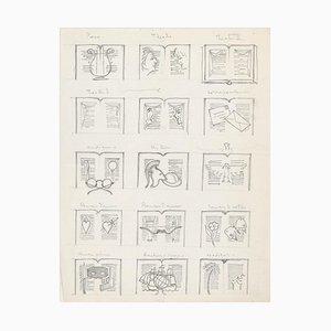 Literatur - Bleistiftzeichnung auf Papier von Unbekannter Französischer Künstler - Früh 1900 1900