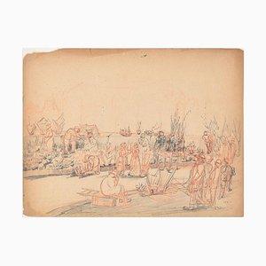 People in t - Original Bleistiftzeichnung von einem unbekannten französischen Künstler - 1881 1881