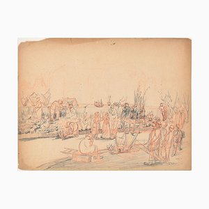 People in t - Original Pencil Drawing by an Unknown French Artist - 1881 1881