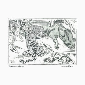 Jaguar Dévorant un Tapis - Original Etching by Unknown French Artist - 1941 1941