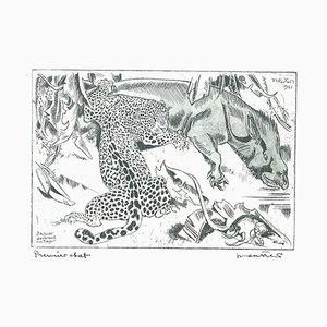 Jaguar Dévorant un Tapis - Originale Radierung von Unbekannter Französischer Künstler - 1941 1941