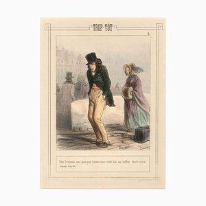 Trop-Tôt - Original Lithographie und Pochoir von F. Bouchot - Erste Hälfte von 1800 Erste Hälfte von 1800