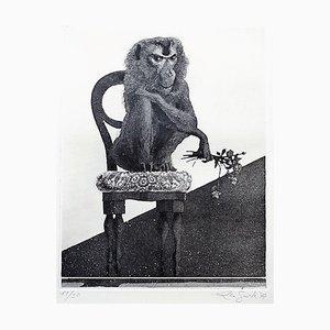 Sitting Monkey - Original Etching by Leo Guida - 1972 1972