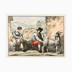 The Goatherd in Tivoli - Etching by Bartolomeo Pinelli - 1819 1819