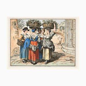 Roman Girls Return from the Harvest - Radierung von Bartolomeo Pinelli - 1819 1819
