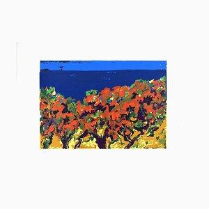 Landscape - Original Screen Print by V. Monti - 1970s 1970s