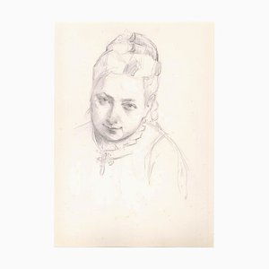 Portrait of a Woman - Original Pencil Drawing Late 19th Century Late 19th century
