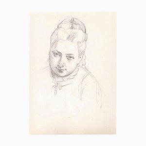 Retrato de una mujer - Lápiz de dibujo original, finales del siglo XIX, siglo XIX