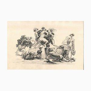 The Grapes Harvest - Original Tuschezeichnung von Lac Man Frühes 20. Jahrhundert