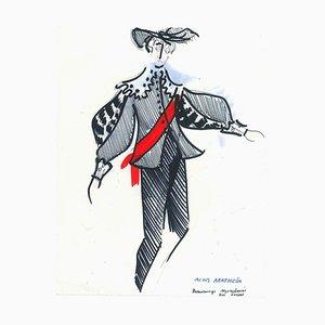 Le Danseur - Original Penmark and Pastel par A. Matheos Milieu 20ème Siècle
