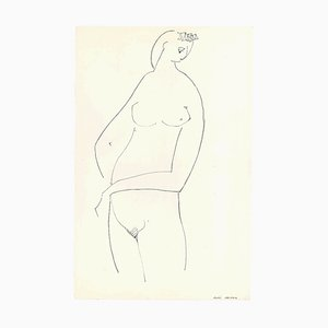Stylized Nude in Profile - Original China Ink on Paper by A. Matheos Mid 20th Century