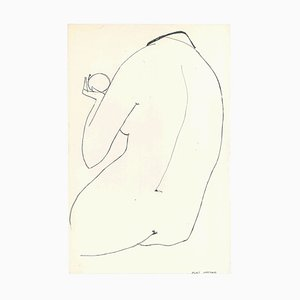 Big Nude - Original China Ink on Paper by A. Matheos Mid 20th Century