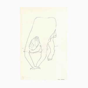 Female Figure with Hands Down - Original China Ink on Paper by A. Matheos Mid 20th Century