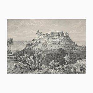 Die Festung Coburg - Original Etching 19° Century 19th Century