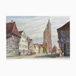 Der Wollmarkt mit der Andreaskirche - Original Radierung von CL Frommel Mid 19. Jahrhundert