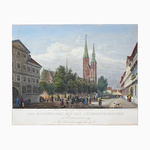 Der Hagenmarkt mit der Catharinenkirche - Original Etching by J. Poppel Mid 19th Century