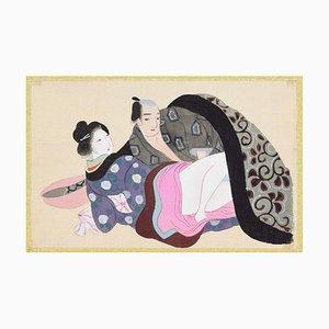 Oriental Love - Original Gouache on Silk Late 19th Century