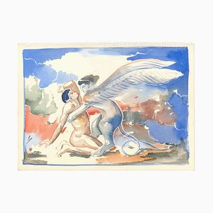 The Sphinx - Original Pencil, Pen and Watercolor on Paper by A. Matheos Mid 20th Century