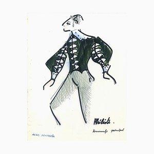Philiste - Penmark and Watercolor von A. Matheos Mid 20th Century
