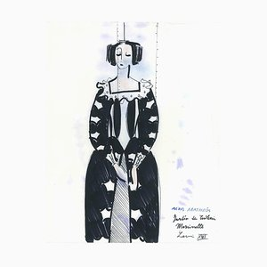 Costume for Marinette - Penmark and Watercolor by A. Matheos Mid 20th Century