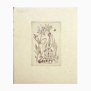 Acquaforte Ex Libris et Musicis - Original Incisione di M. Fingesten - Early 1900 Early 1900