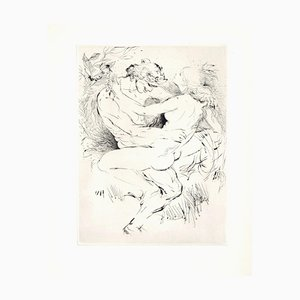 Sexual Encounter - Original Etching ad Drypoint by A. Doré - Late 1900 Late 1900