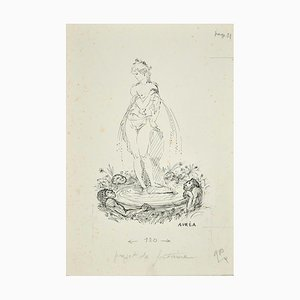 Projet de Fontaine - Ink Drawing by A. Doré 1950s