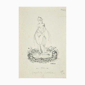 Projet de Fontaine - Tuschezeichnung von A. Doré, 1950er