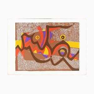 Composizione marrone - Stampa originale di Wladimiro Tulli - anni '70