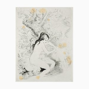 Woman at the River- Original Etching ad Drypoint by A. Doré - Late 1900 Late 1900