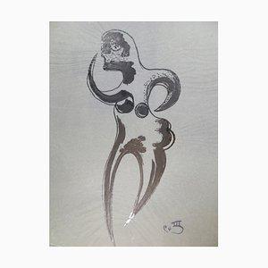 Stilisierte Figur - Original China Tusche auf Papier von Michel Cadoret - 1949 1949