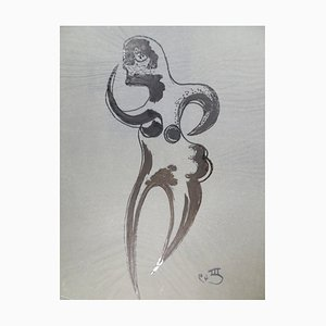 Stylized Figure - Original China Ink on Paper by Michel Cadoret - 1949 1949